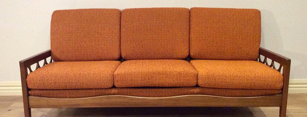 Mid Century Three Seater Avalon Solid Blackwood Sofa.