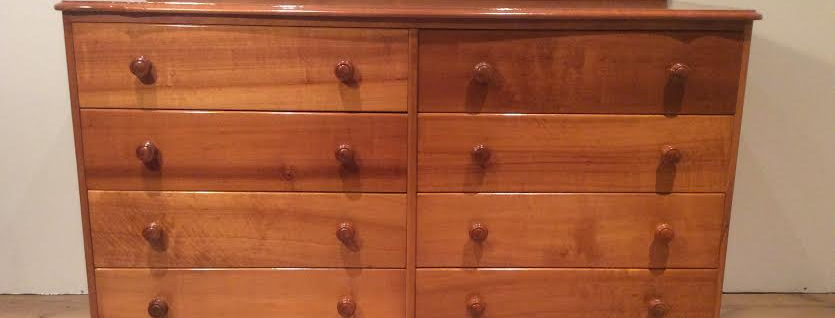 Mid Century Fred Ward Style Solid Myrtle Chest of Drawers