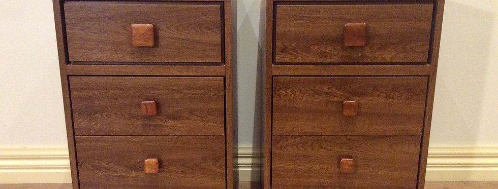 Matching Retro Australian Made Three Drawer Bedside Cabinets.