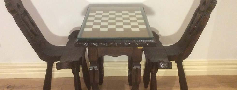Handmade Spanish Chess Table and Chairs