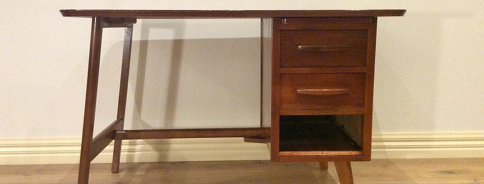 Restored 1960s Teak Two Drawer Desk with Slide Out Shelf.
