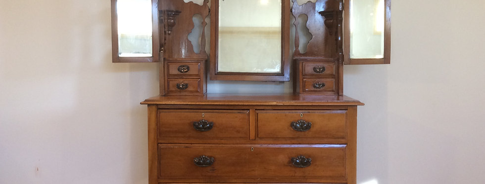 Arts & Crafts Huon Pine Eight Drawer Dresser.