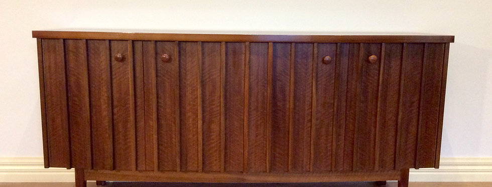 Mid Century Bow-Fronted and Slatted Sideboard. Made in Australia