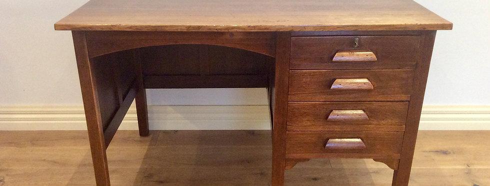 Mid Century Industrial Oak Four Drawer Desk.