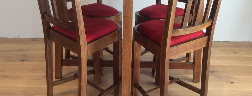 Mid Century Solid Blackwood Dining Table and Chairs