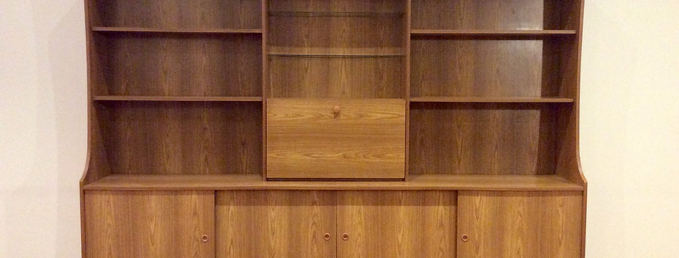 Mid Century Danish Style Veneered Wall Unit with Drop Down Drinks Cabinet.