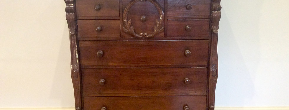 Large Serpentine Victorian Style Mahogany Seven Drawer Chest.