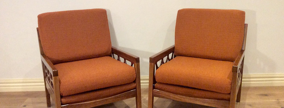 Matching Mid Century Avalon Solid Blackwood Arm Chairs. Circa 1960-70.