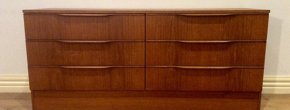 Danish Style Mid Century Six Drawer Teak Cabinet.