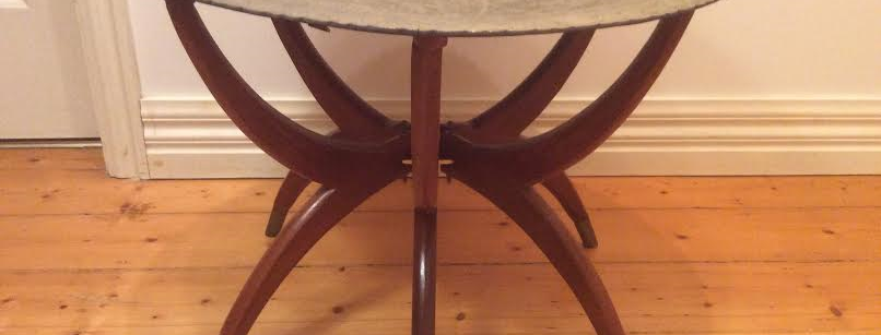 """Unique Mid Century Moroccan Style Etched Brass """"Spider"""" Table"""