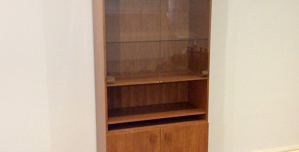 Mid Century E. H. Reidy Teak Wall Unit with Glass Display Case. Circa 1970.