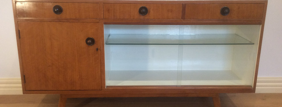 Mid Century Sideboard with Glass Panel Doors