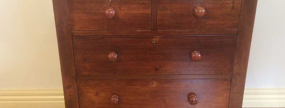 Small Distressed Victorian Cedar Four Drawer Chest.