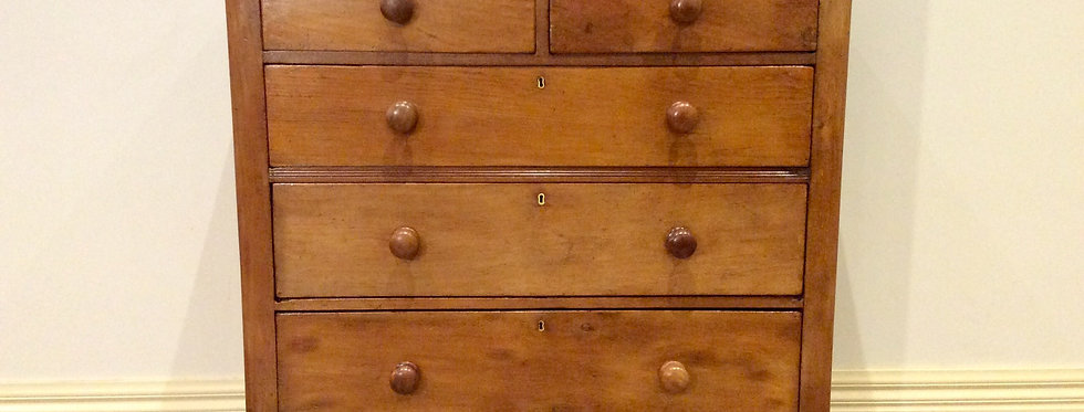 Light Tone Victorian Cedar Five Drawer Chest. Circa 1890.