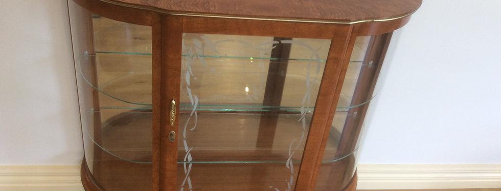 Mid Century Half Round Crustal Cabinet