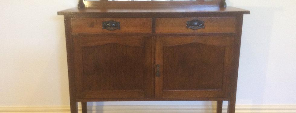 Antique Silky Oak Sideboard with Press Metal Headboard