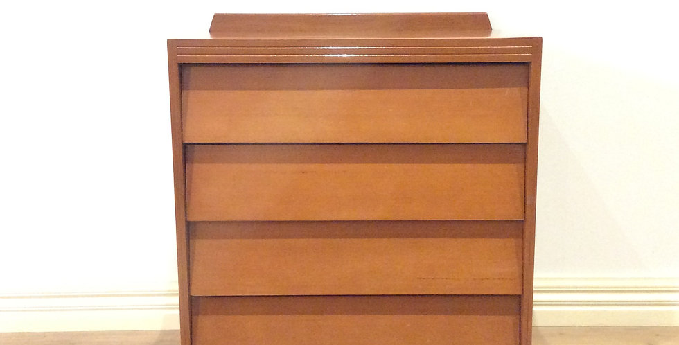 Mid Century Douglass Snelling Inspired Teak Four Drawer Chest.