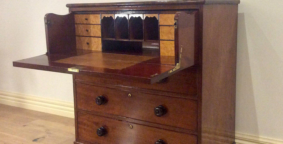 Victorian Mahogany Chest with Concealed Drop Front Secretaire. Circa 1880.