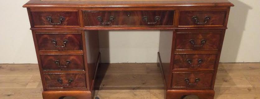 Vintage Mahogany Pedestal Nine Drawer Partners Desk.