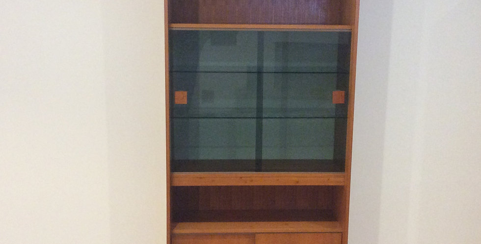 Mid Century Noblett Teak Wall Unit with Glass Panel Doors. Circa 1960 -70.