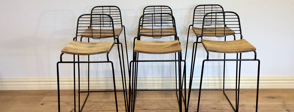 Vintage Industrial Wire and Hardwood Bar Stools.