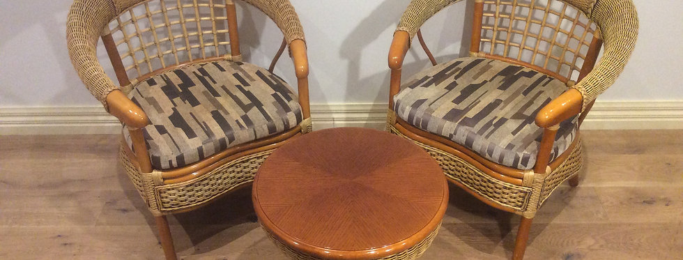Three Piece Hand Made Cane & Rattan Suite. RRP $1,800