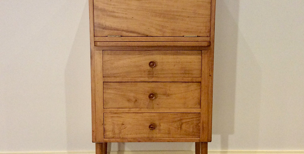 Mid Century Handmade Solid Oak Drop Front Cabinet with Atomic Legs.