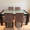 Contemporary Solid Hardwood Dining Table and Suede Chairs