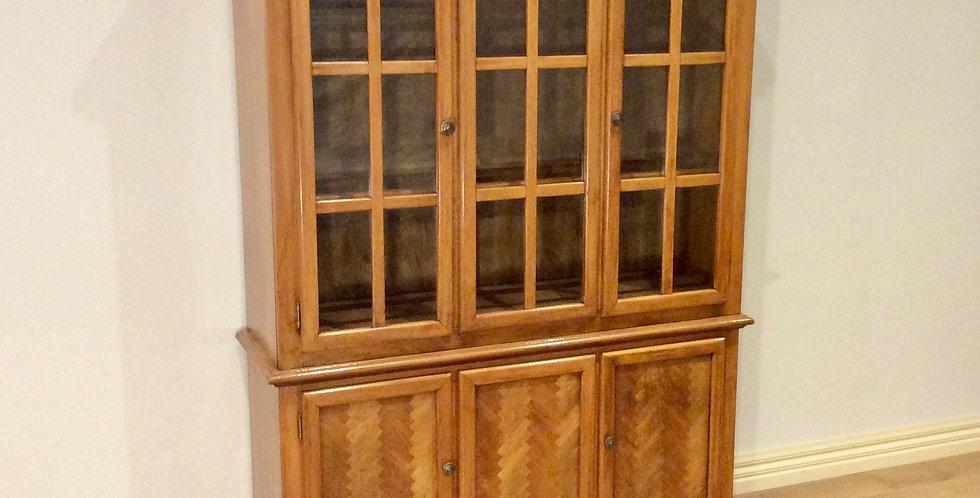 Vintage Oak Cabinet with Herringbone Inlay and Glass Panel Doors.