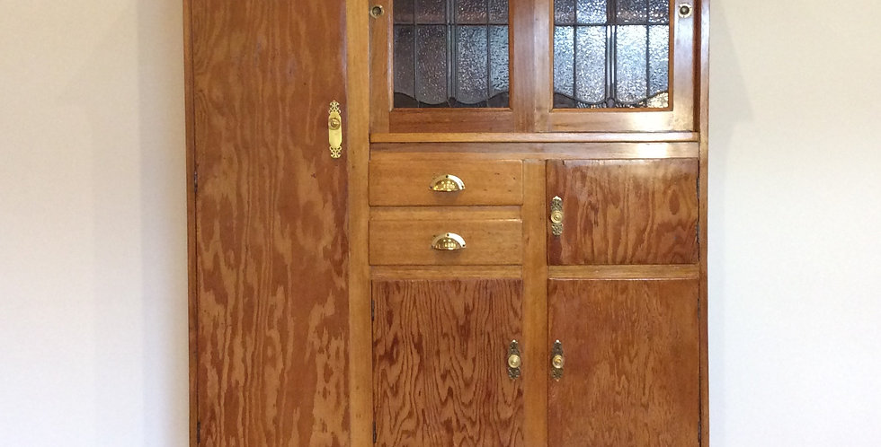 Antique Oak Kitchen Cabinet with Leadlight Panel Doors.