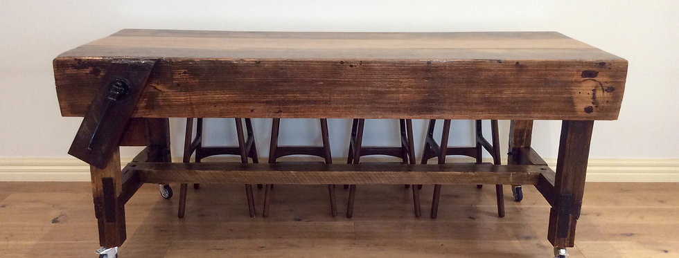 Vintage Industrial Hardwood Kitchen Island Bench on Rolling Castors.