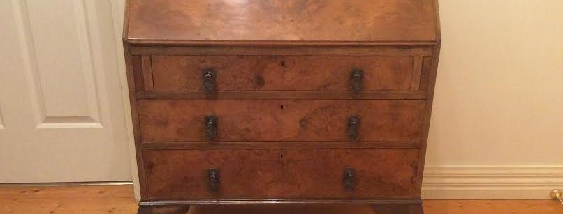 Victorian Burr Walnut Drop Desk Secretaire Bureau