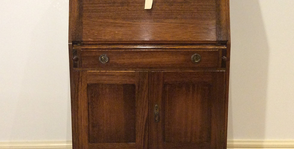 Restored Antique Oak Drop Front Secretaire.
