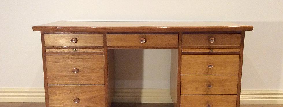 Rare Mid Century Industrial Eight Drawer Hardwood Desk