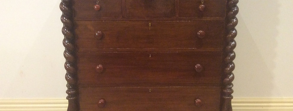 Victorian Cedar Seven Drawer Chest with Barley Twist Columns.