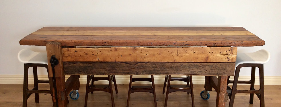 Industrial Hardwood Island Bench with Lemcol Rolling Castors. Circa 1920.