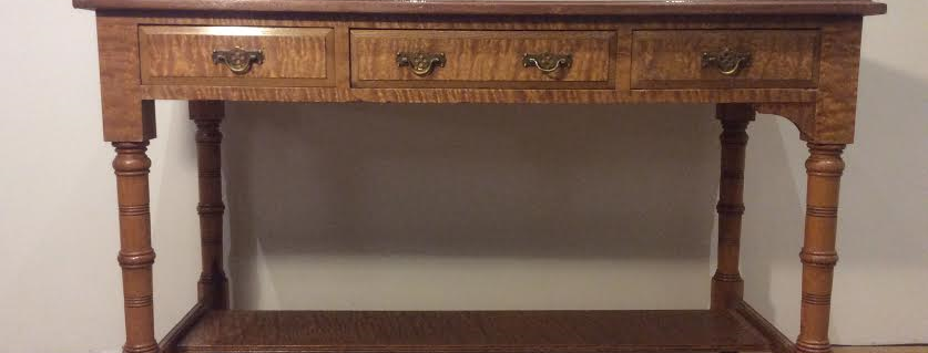 Antique Wanut and Burr Oak Three Drawer Console