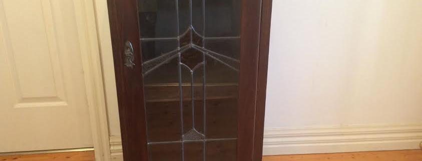 Edwardian Music Cabinet with Leadlight Panel Door