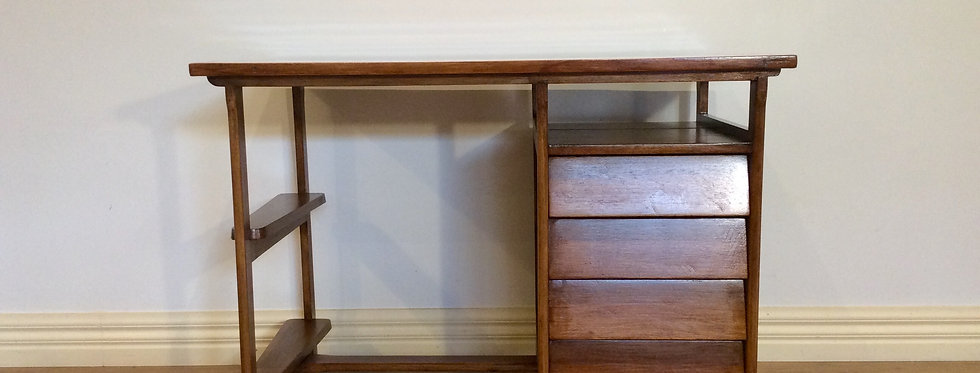 Mid Century Douglass Snelling Inspired Four Drawer Hardwood Desk. Circa 1960