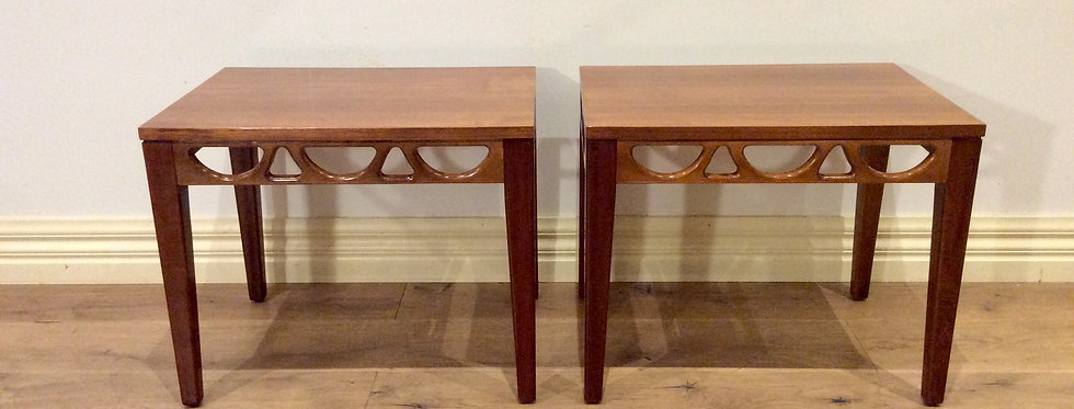 Matching Pair of Mid Century Avalon Solid Blackwood Side Tables. Circa 1960-70.