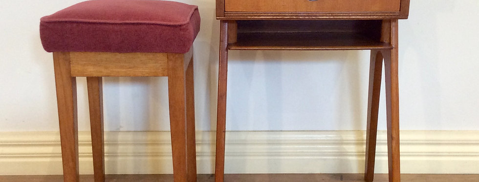 Restored 1950s Australian Made Oak Telephone Table with Matching Stool.