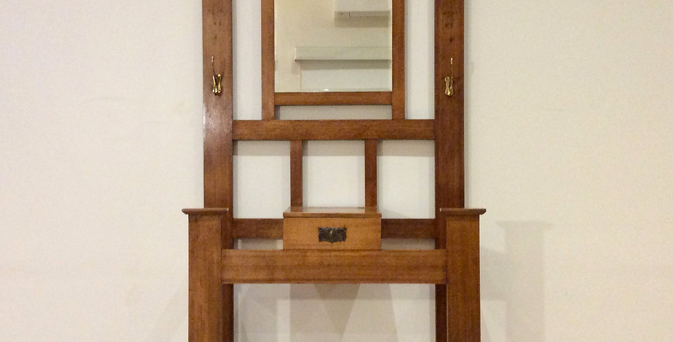 Mirrored Back Edwardian Oak Hall Stand with Glove Compartment.