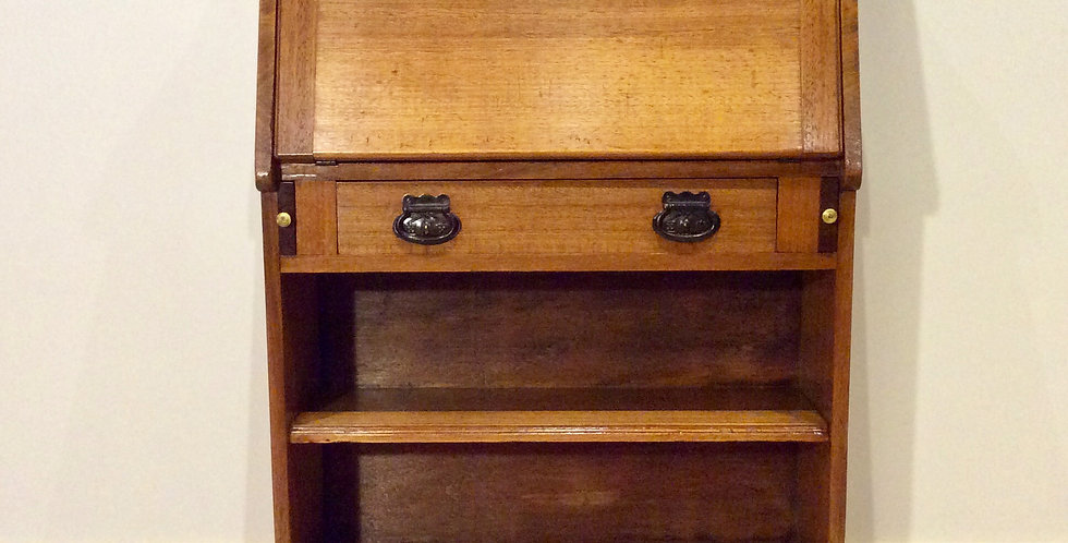 Arts and Crafts Inspired Antique Drop Front Secretaire with Bookshelves.