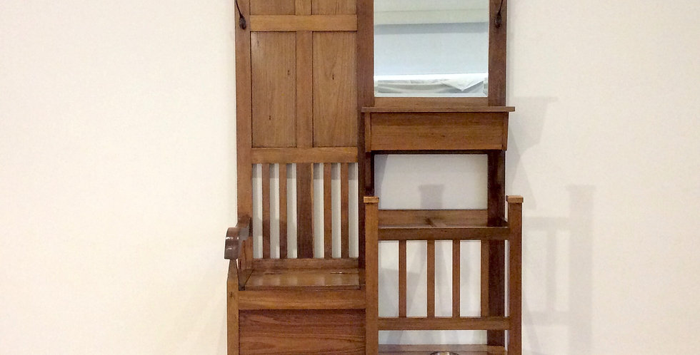 Edwardian Oak Hall Stand with Storage Compartments and Mirror. Circa 1910.