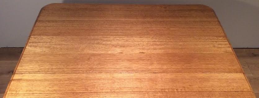 Mid Century Solid Oak Drop Side Table. Circa 1970