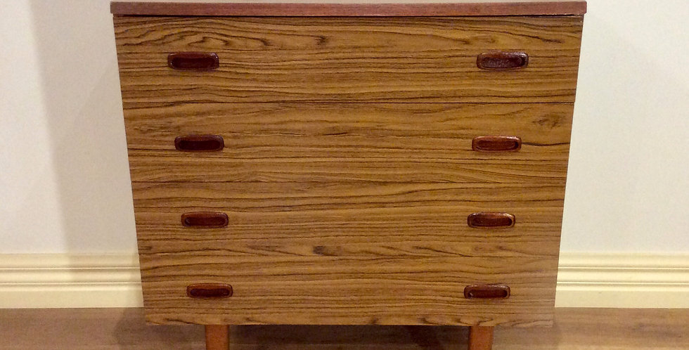 Mid Century Danish Style Four Drawer Chest. Circa 1960