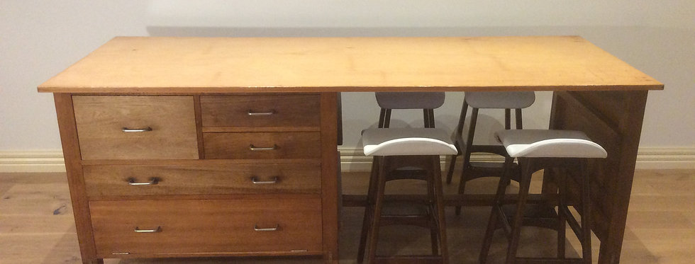 Mid Century Industrial Kitchen Island Bench