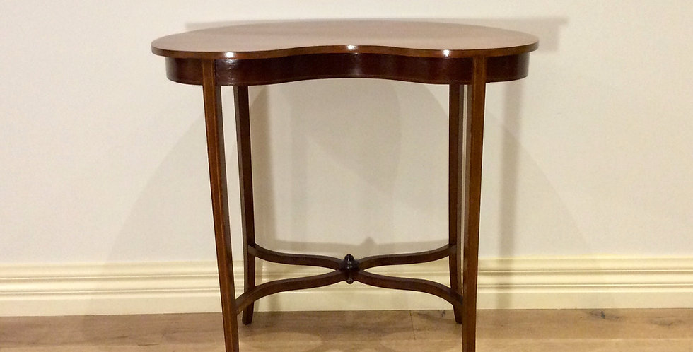 Edwardian Mahogany Kidney Shaped Occasional Table with Decorative Inlay