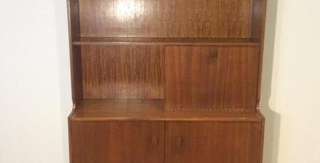 Mid Century Australian Made Teak Book Shelf with Cocktail Cabinet.