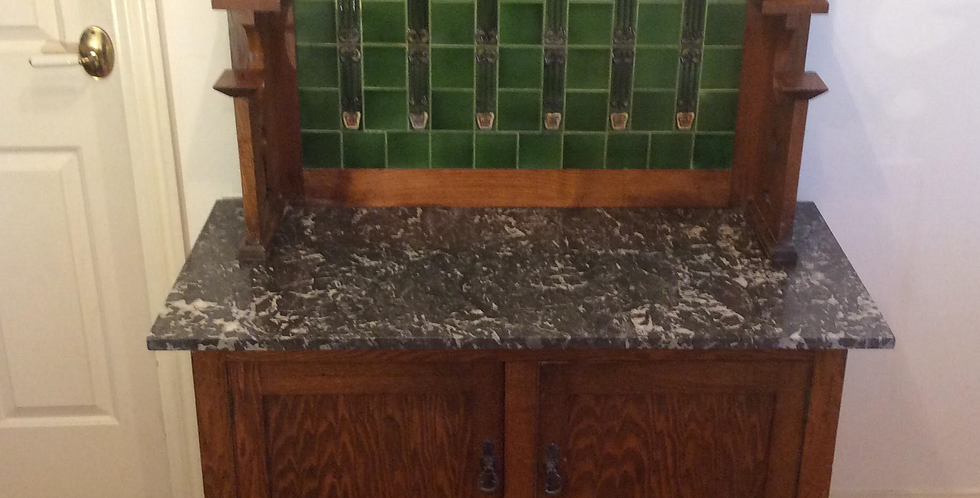 Antique Arts & Crafts Marble Top Washstand